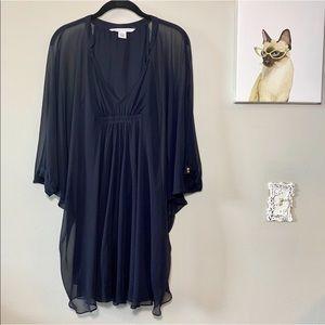 Diane Von Furstenberg Black Silk Fleurette Dress